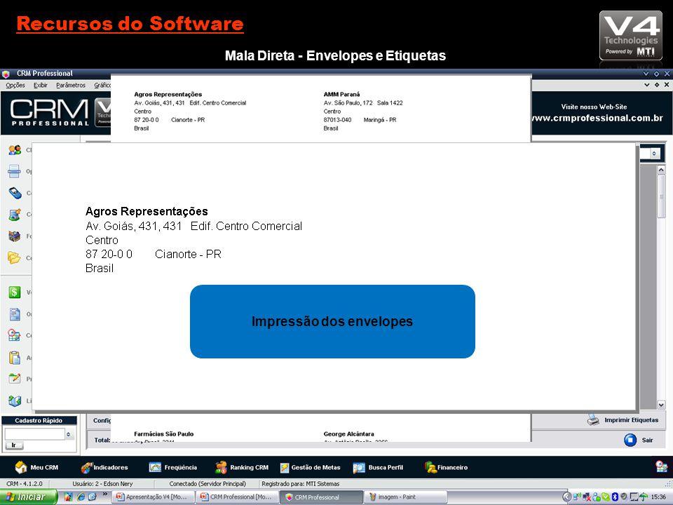 Voltar ao Menu Recursos do Software Mala Direta - Envelopes e Etiquetas Seleção de clientes para envio da mala direta Impressão das Etiquetas Impressão dos envelopes