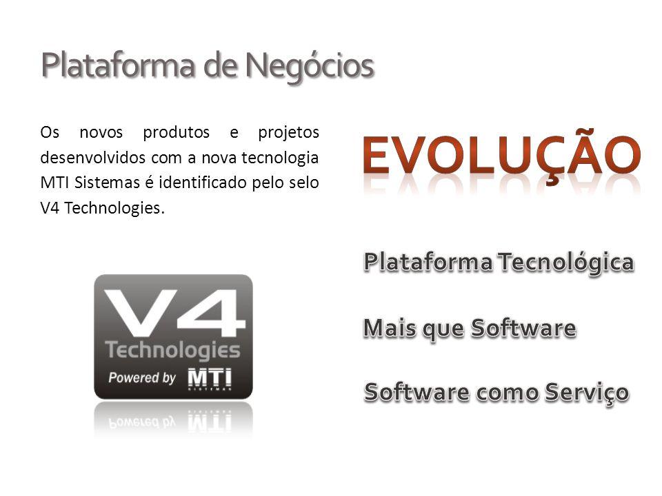 Plataforma de Negócios Os novos produtos e projetos desenvolvidos com a nova tecnologia MTI Sistemas é identificado pelo selo V4 Technologies.