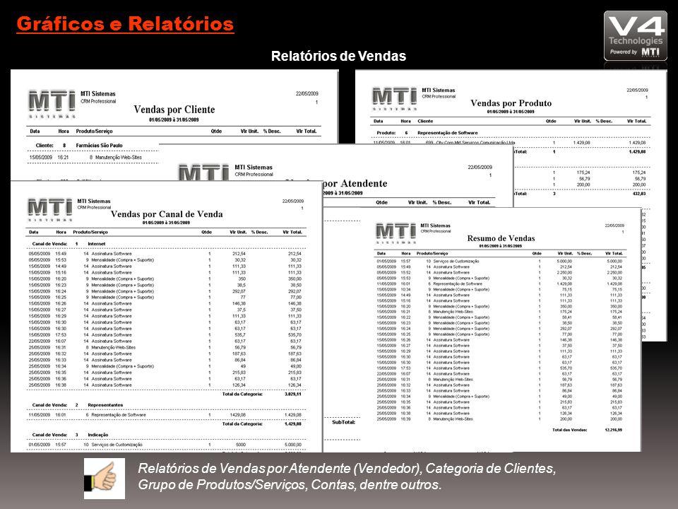 Gráficos e Relatórios Relatórios de Vendas Relatórios de Vendas por Atendente (Vendedor), Categoria de Clientes, Grupo de Produtos/Serviços, Contas, dentre outros.