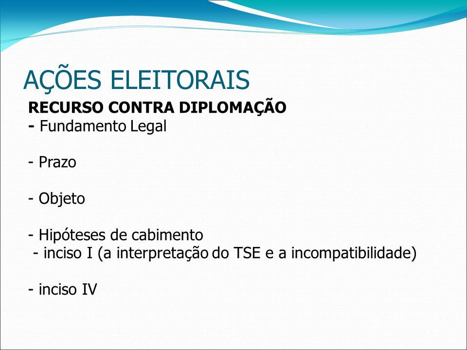 AÇÕES ELEITORAIS RECURSO CONTRA DIPLOMAÇÃO - Fundamento Legal - Prazo - Objeto - Hipóteses de cabimento - inciso I (a interpretação do TSE e a incompatibilidade) - inciso IV