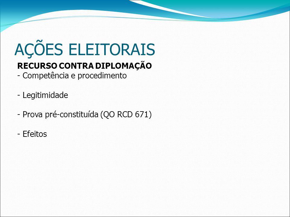 AÇÕES ELEITORAIS RECURSO CONTRA DIPLOMAÇÃO - Competência e procedimento - Legitimidade - Prova pré-constituída (QO RCD 671) - Efeitos