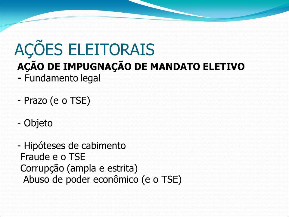 AÇÕES ELEITORAIS AÇÃO DE IMPUGNAÇÃO DE MANDATO ELETIVO - Fundamento legal - Prazo (e o TSE) - Objeto - Hipóteses de cabimento Fraude e o TSE Corrupção (ampla e estrita) Abuso de poder econômico (e o TSE)
