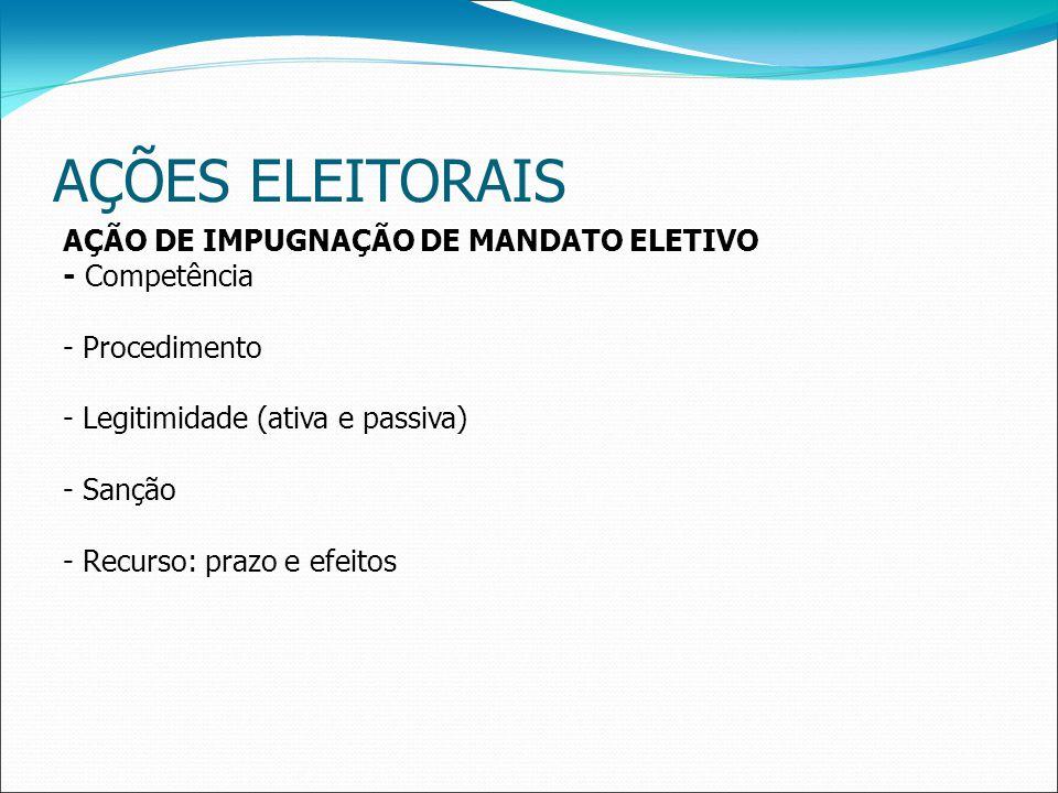 AÇÕES ELEITORAIS AÇÃO DE IMPUGNAÇÃO DE MANDATO ELETIVO - Competência - Procedimento - Legitimidade (ativa e passiva) - Sanção - Recurso: prazo e efeitos