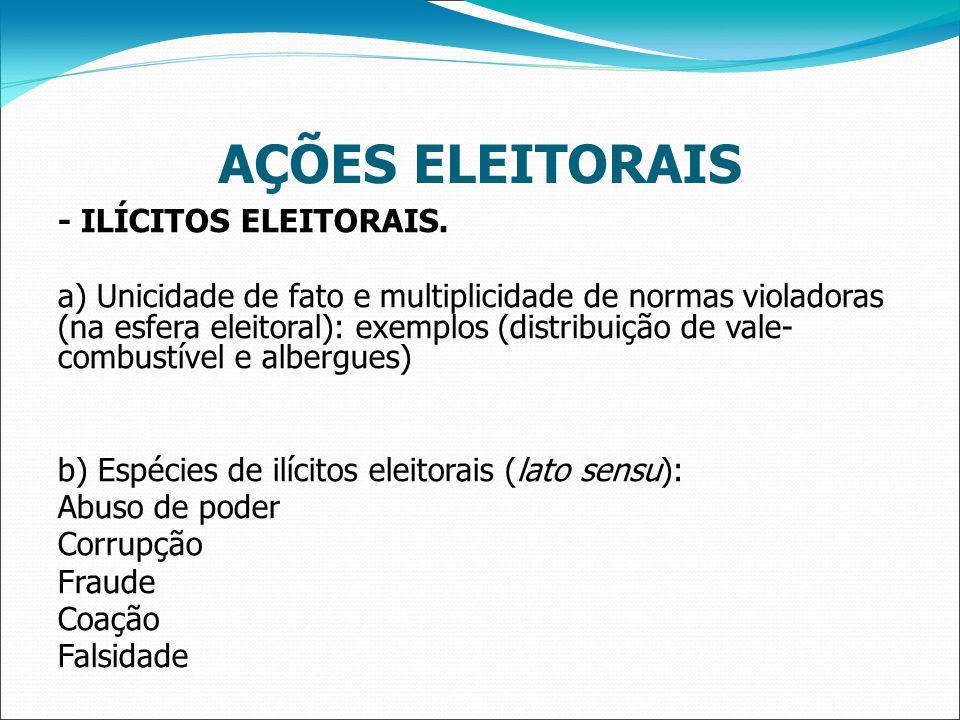 AÇÕES ELEITORAIS - ILÍCITOS ELEITORAIS.