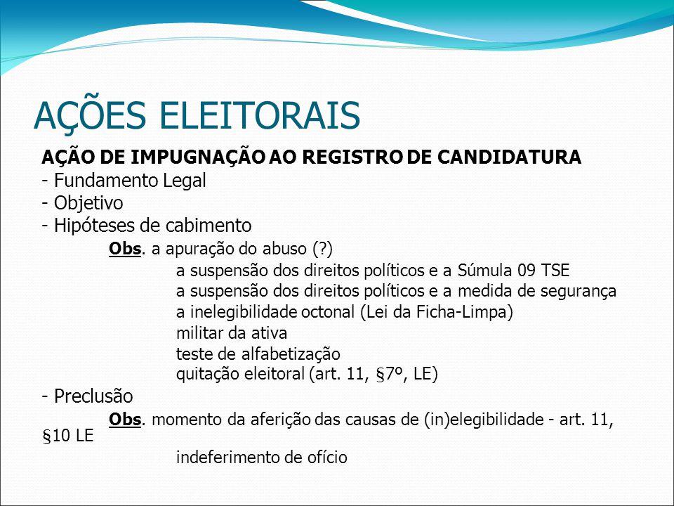 AÇÕES ELEITORAIS AÇÃO DE IMPUGNAÇÃO AO REGISTRO DE CANDIDATURA - Fundamento Legal - Objetivo - Hipóteses de cabimento Obs.
