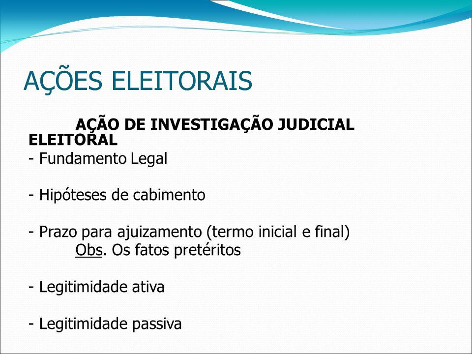 AÇÕES ELEITORAIS AÇÃO DE INVESTIGAÇÃO JUDICIAL ELEITORAL - Fundamento Legal - Hipóteses de cabimento - Prazo para ajuizamento (termo inicial e final) Obs.
