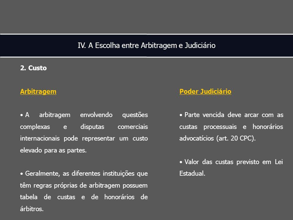 IV. A Escolha entre Arbitragem e Judiciário 2.