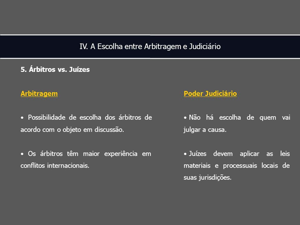 IV. A Escolha entre Arbitragem e Judiciário 5. Árbitros vs.