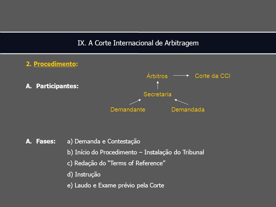 IX. A Corte Internacional de Arbitragem 2.
