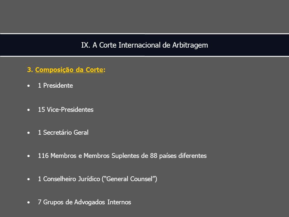 IX. A Corte Internacional de Arbitragem 3.