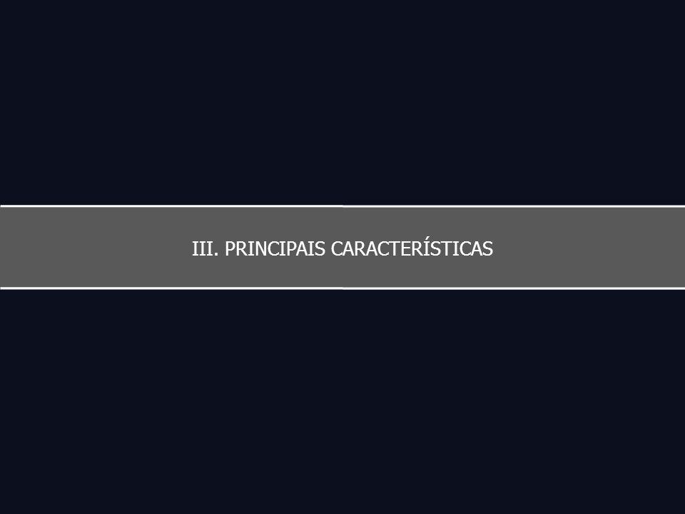 III. PRINCIPAIS CARACTERÍSTICAS