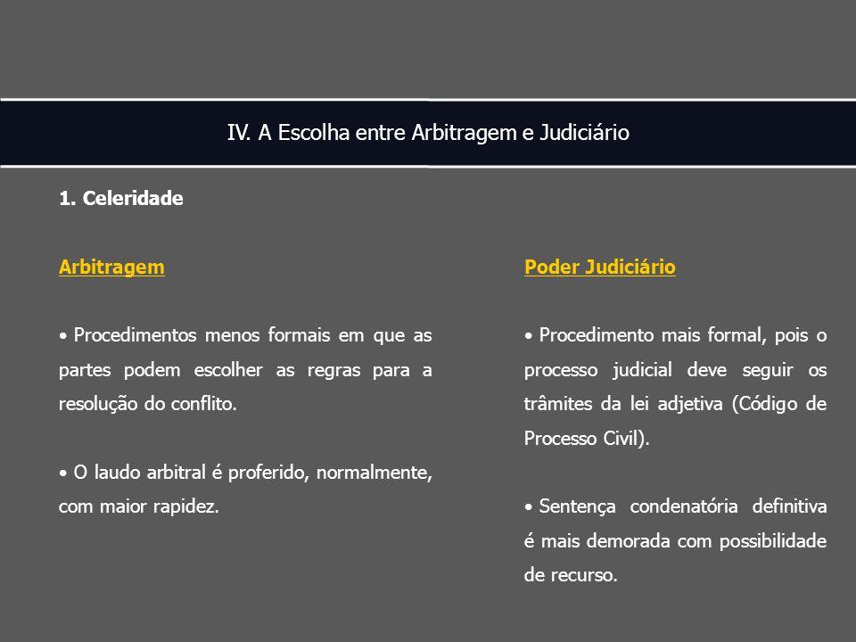 IV. A Escolha entre Arbitragem e Judiciário 1.