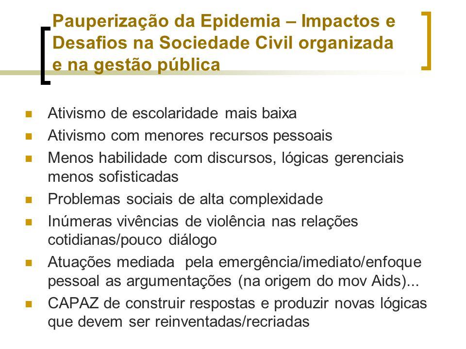 Pauperização da Epidemia – Impactos e Desafios na Sociedade Civil organizada e na gestão pública Ativismo de escolaridade mais baixa Ativismo com meno