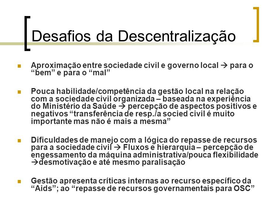"""Desafios da Descentralização Aproximação entre sociedade civil e governo local  para o """"bem"""" e para o """"mal"""" Pouca habilidade/competência da gestão lo"""