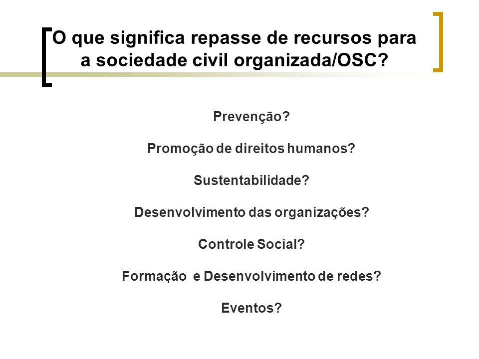 O que significa repasse de recursos para a sociedade civil organizada/OSC? Prevenção? Promoção de direitos humanos? Sustentabilidade? Desenvolvimento