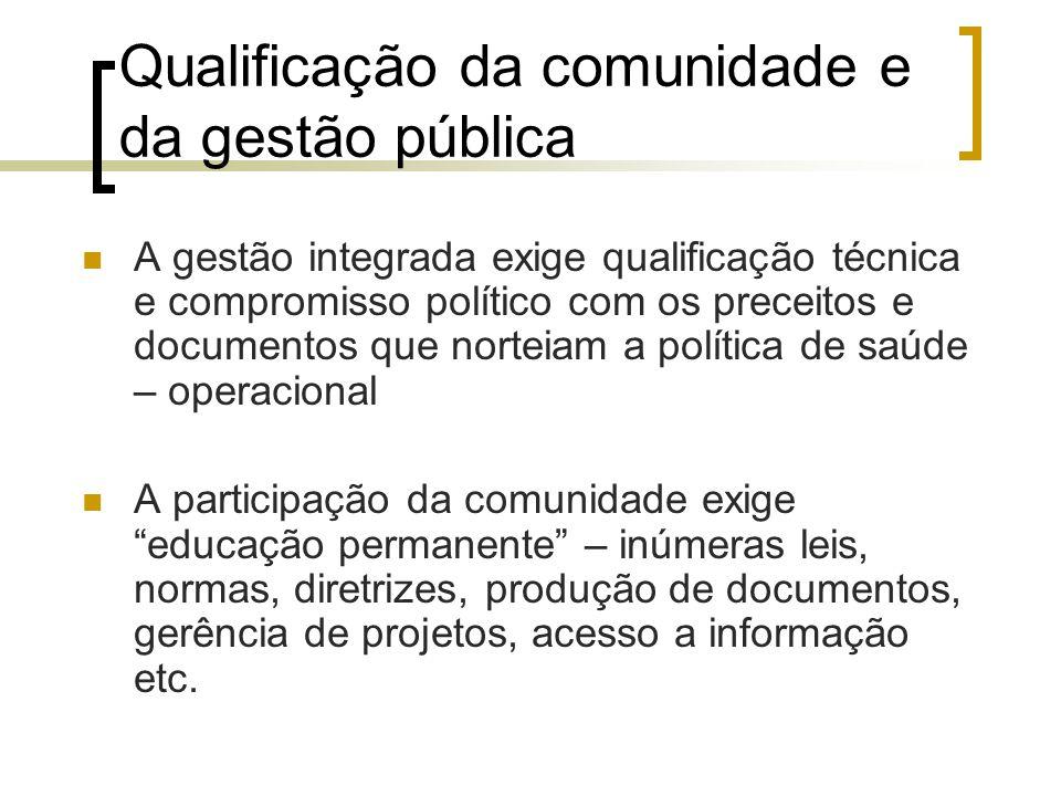 Qualificação da comunidade e da gestão pública A gestão integrada exige qualificação técnica e compromisso político com os preceitos e documentos que