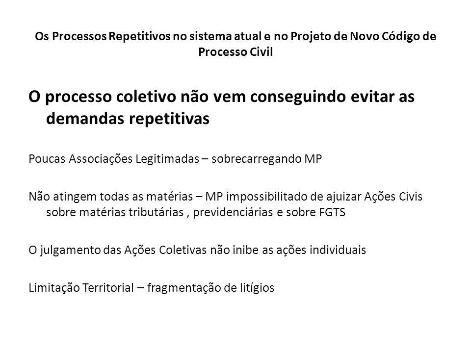 Os Processos Repetitivos no sistema atual e no Projeto de Novo Código de Processo Civil O processo coletivo não vem conseguindo evitar as demandas rep