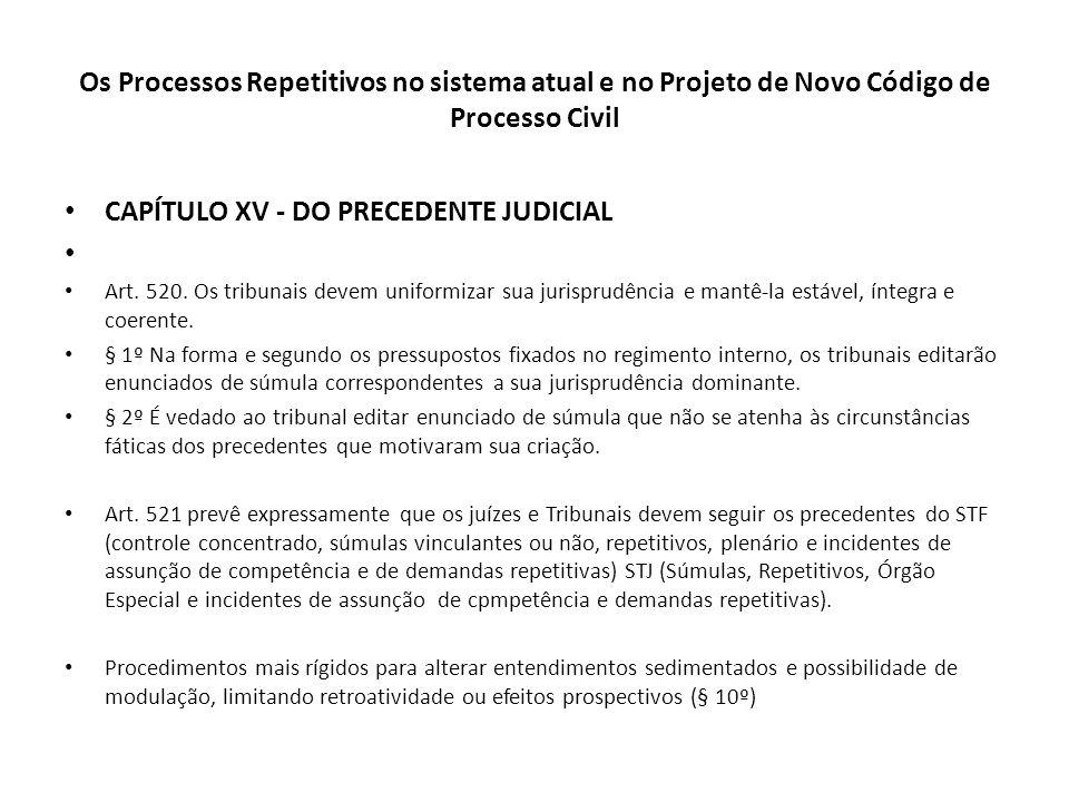 Os Processos Repetitivos no sistema atual e no Projeto de Novo Código de Processo Civil CAPÍTULO XV - DO PRECEDENTE JUDICIAL Art. 520. Os tribunais de
