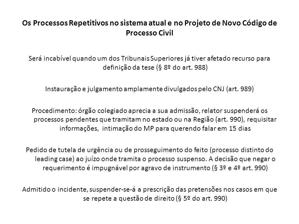 Os Processos Repetitivos no sistema atual e no Projeto de Novo Código de Processo Civil Será incabível quando um dos Tribunais Superiores já tiver afe