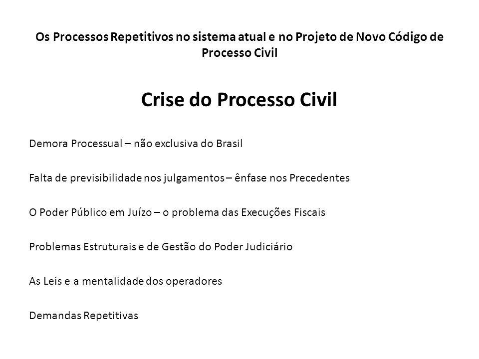 Os Processos Repetitivos no sistema atual e no Projeto de Novo Código de Processo Civil Crise do Processo Civil Demora Processual – não exclusiva do B