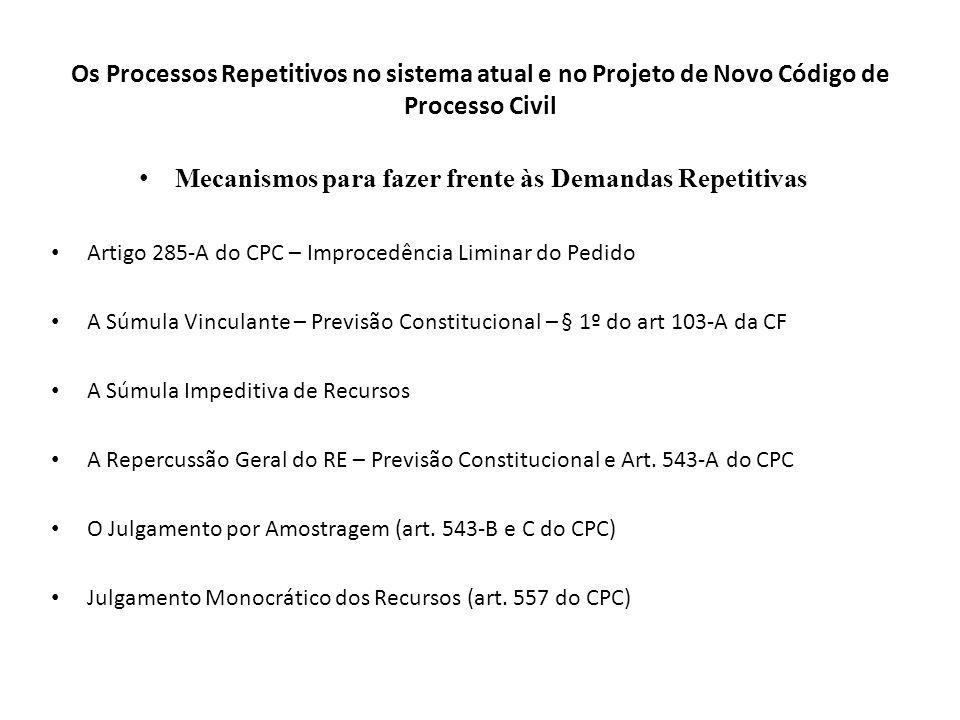 Os Processos Repetitivos no sistema atual e no Projeto de Novo Código de Processo Civil Mecanismos para fazer frente às Demandas Repetitivas Artigo 28