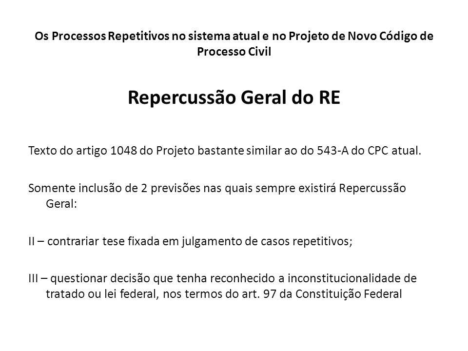 Os Processos Repetitivos no sistema atual e no Projeto de Novo Código de Processo Civil Repercussão Geral do RE Texto do artigo 1048 do Projeto bastan