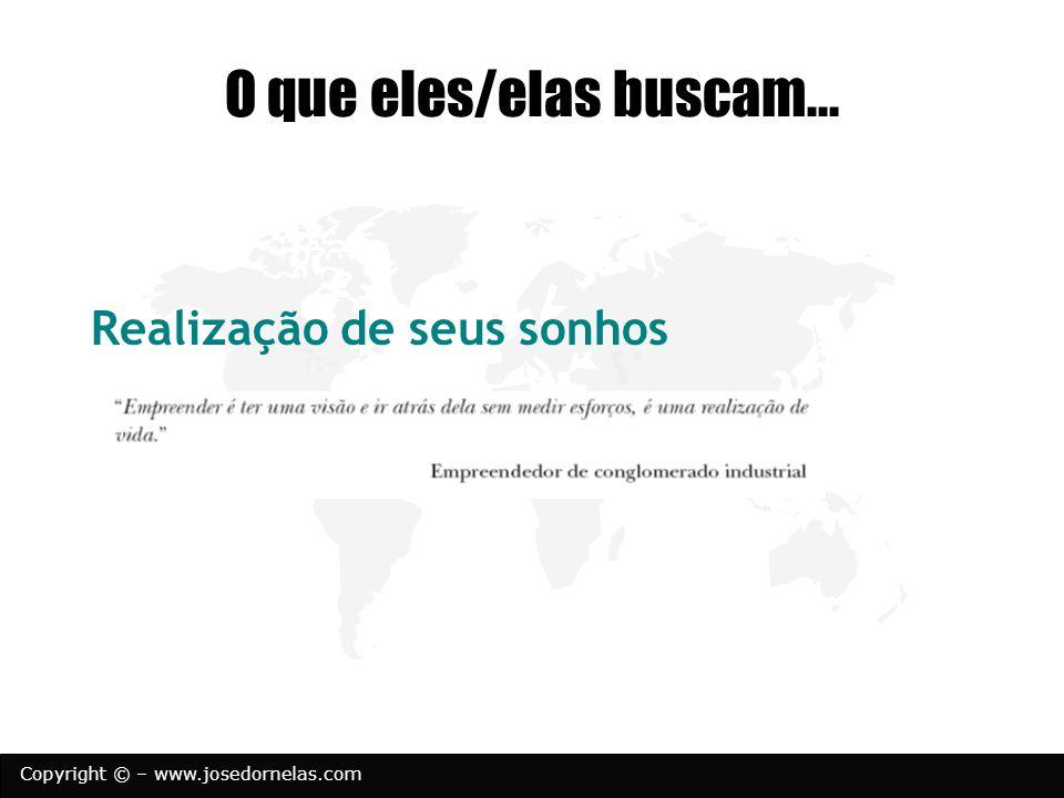 Copyright © – www.josedornelas.com O que eles/elas buscam... Realização de seus sonhos