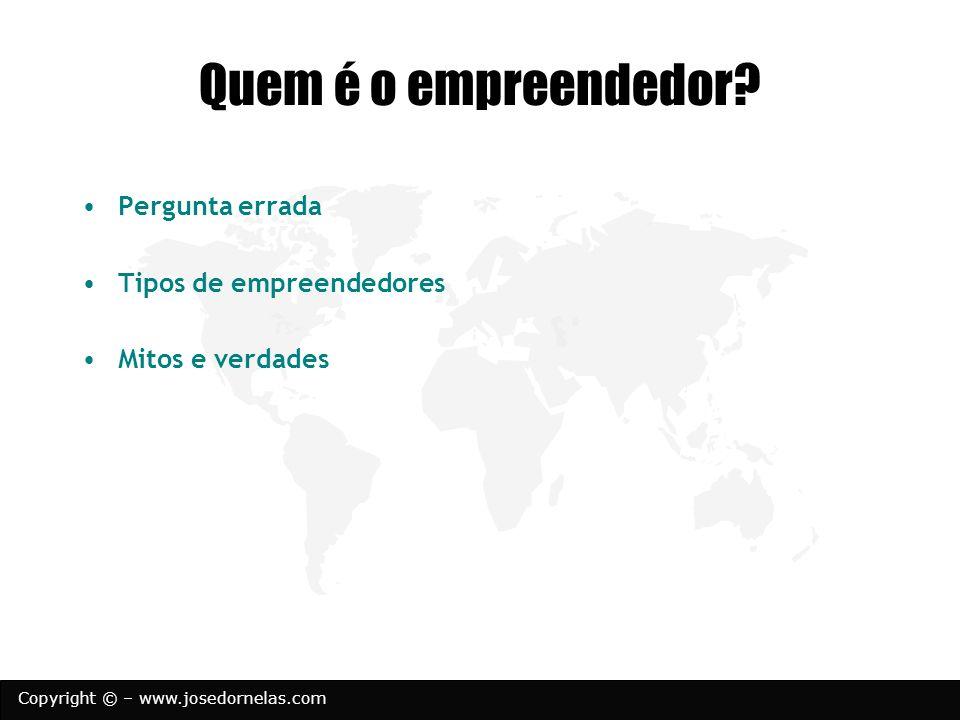 Copyright © – www.josedornelas.com Tipos de empreendedores Nato Que aprende (inesperado) Serial Corporativo Social Necessidade Herdeiro (sucessão familiar) Normal (planejado)