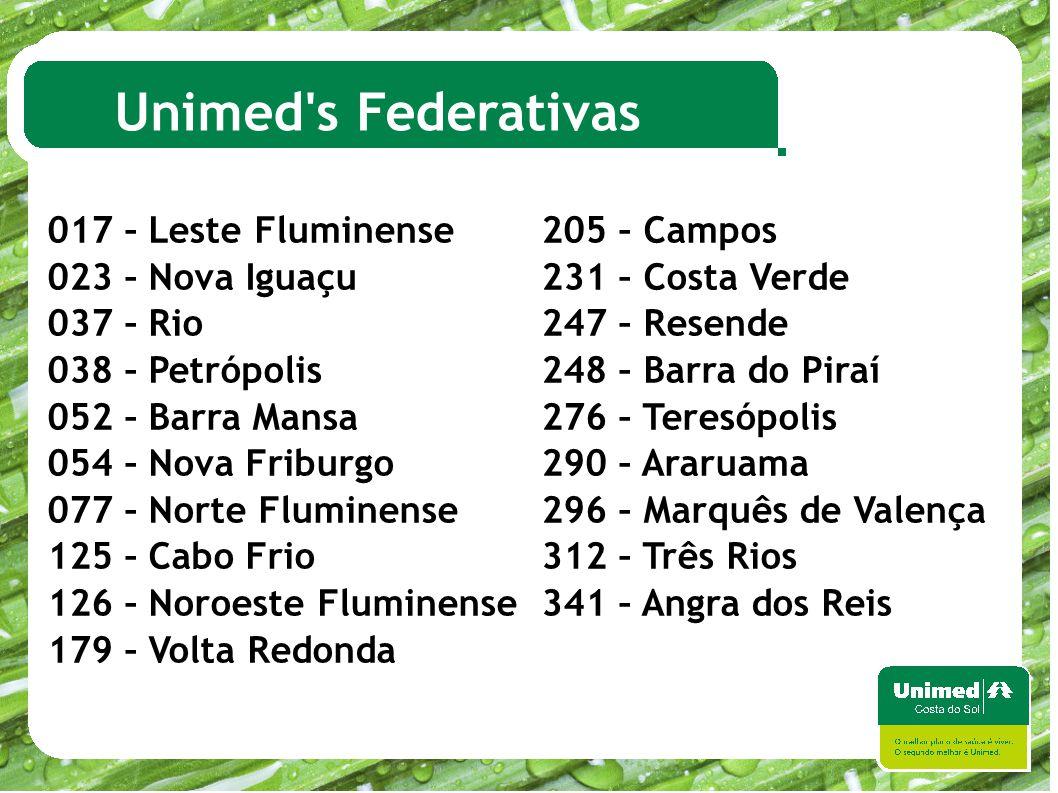 Unimed's Federativas 017 – Leste Fluminense 205 – Campos 023 – Nova Iguaçu 231 – Costa Verde 037 – Rio 247 – Resende 038 – Petrópolis 248 – Barra do P