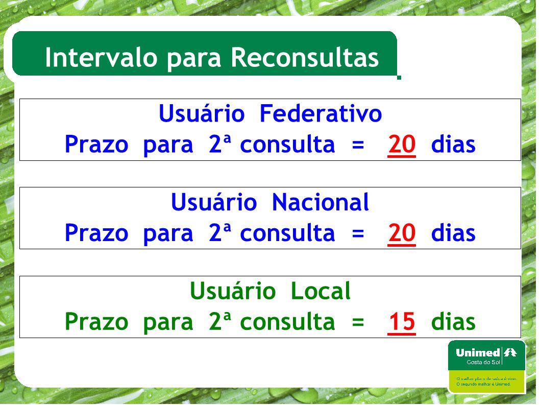 Intervalo para Reconsultas Usuário Federativo Prazo para 2ª consulta = 20 dias Usuário Nacional Prazo para 2ª consulta = 20 dias Usuário Local Prazo p