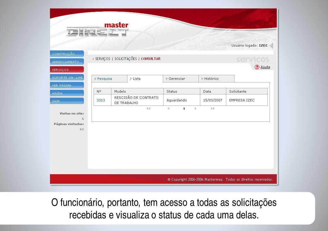 O funcionário, portanto, tem acesso a todas as solicitações recebidas e visualiza o status de cada uma delas.