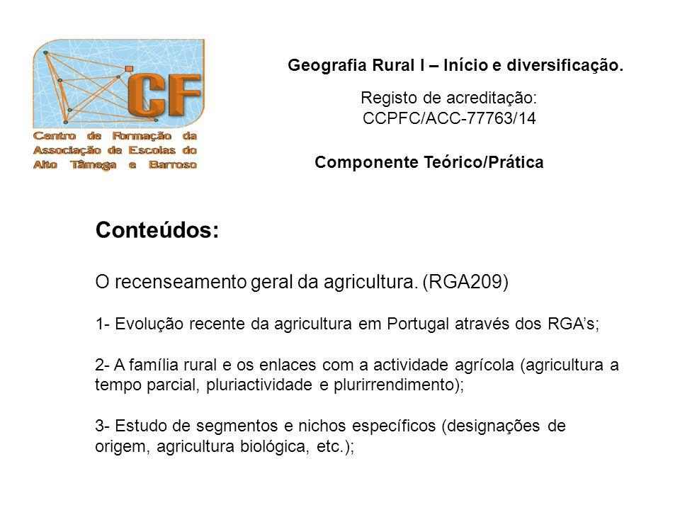 Geografia Rural I – Início e diversificação. Conteúdos: O recenseamento geral da agricultura. (RGA209) 1- Evolução recente da agricultura em Portugal