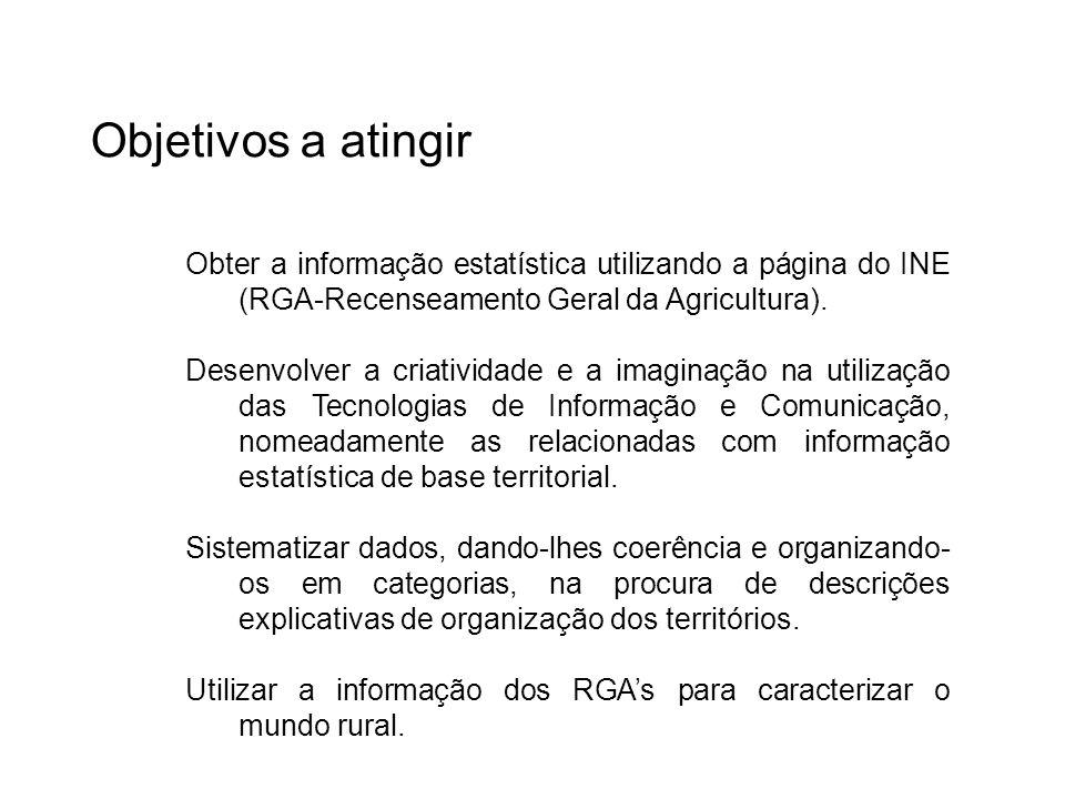 Obter a informação estatística utilizando a página do INE (RGA-Recenseamento Geral da Agricultura). Desenvolver a criatividade e a imaginação na utili