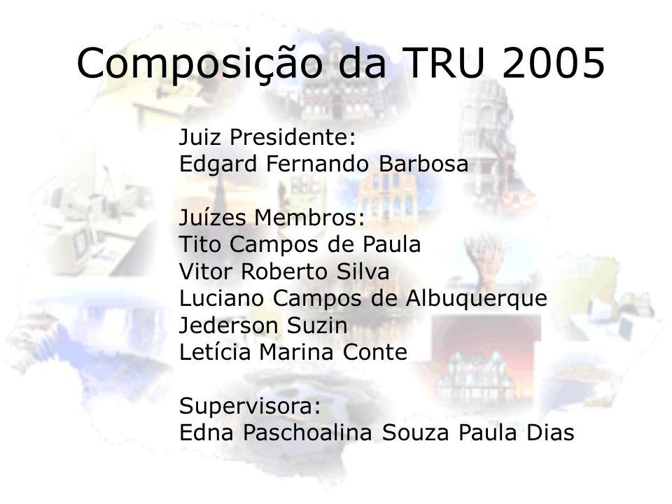 Composição da TRU 2005 Juiz Presidente: Edgard Fernando Barbosa Juízes Membros: Tito Campos de Paula Vitor Roberto Silva Luciano Campos de Albuquerque