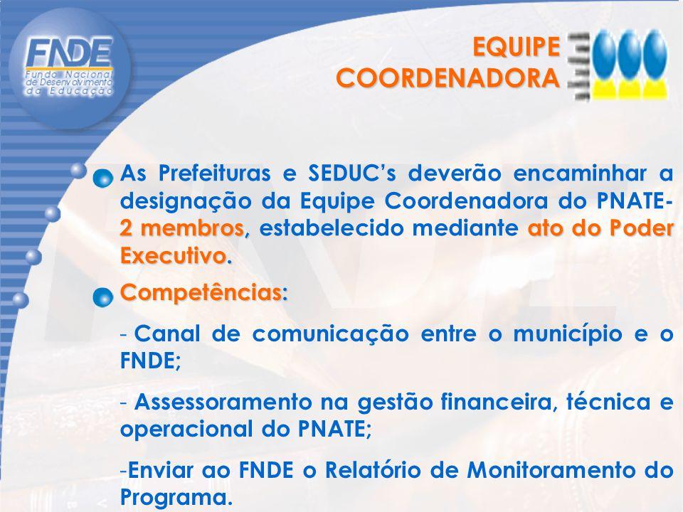 EQUIPE COORDENADORA 2 membros, ato do Poder Executivo. As Prefeituras e SEDUC's deverão encaminhar a designação da Equipe Coordenadora do PNATE- 2 mem