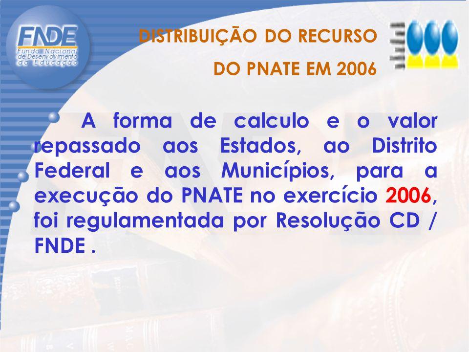 A forma de calculo e o valor repassado aos Estados, ao Distrito Federal e aos Municípios, para a execução do PNATE no exercício 2006, foi regulamentad