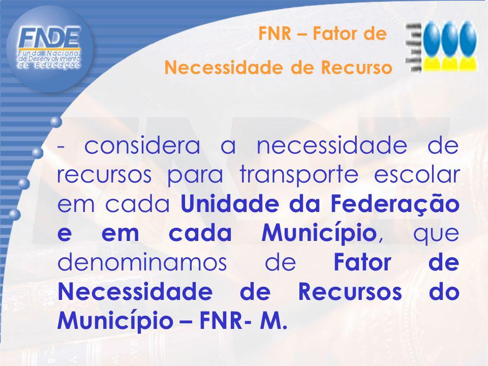 - considera a necessidade de recursos para transporte escolar em cada Unidade da Federação e em cada Município, que denominamos de Fator de Necessidad