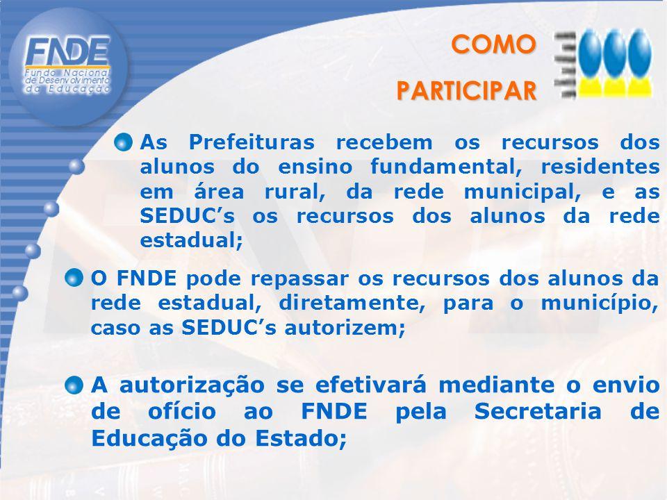 COMOPARTICIPAR As Prefeituras recebem os recursos dos alunos do ensino fundamental, residentes em área rural, da rede municipal, e as SEDUC's os recur