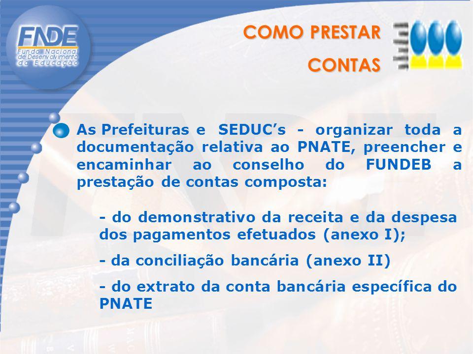 COMO PRESTAR CONTAS CONTAS As Prefeituras e SEDUC's - organizar toda a documentação relativa ao PNATE, preencher e encaminhar ao conselho do FUNDEB a