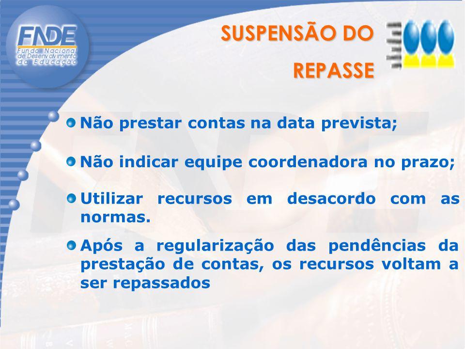 SUSPENSÃO DO REPASSE REPASSE Não prestar contas na data prevista; Não indicar equipe coordenadora no prazo; Utilizar recursos em desacordo com as norm