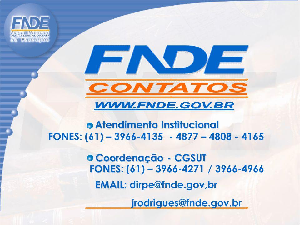 FONES: (61) – 3966-4135 - 4877 – 4808 - 4165 Atendimento Institucional FONES FONES: (61) – 3966-4271 / 3966-4966 Coordenação - CGSUT EMAIL EMAIL: dirp