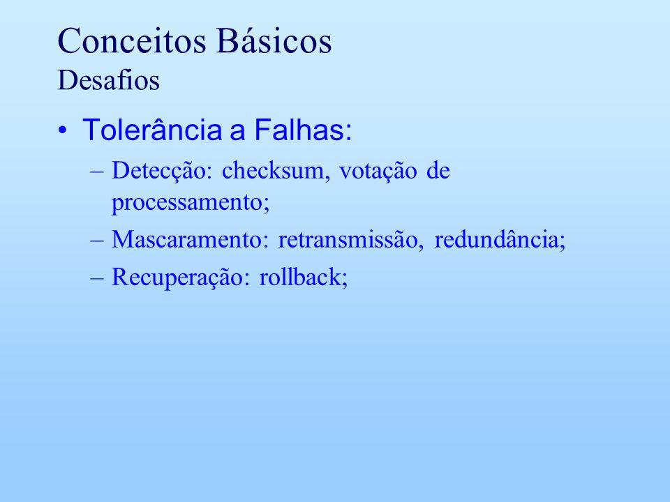 Conceitos Básicos Desafios Tolerância a Falhas: –Detecção: checksum, votação de processamento; –Mascaramento: retransmissão, redundância; –Recuperação: rollback;