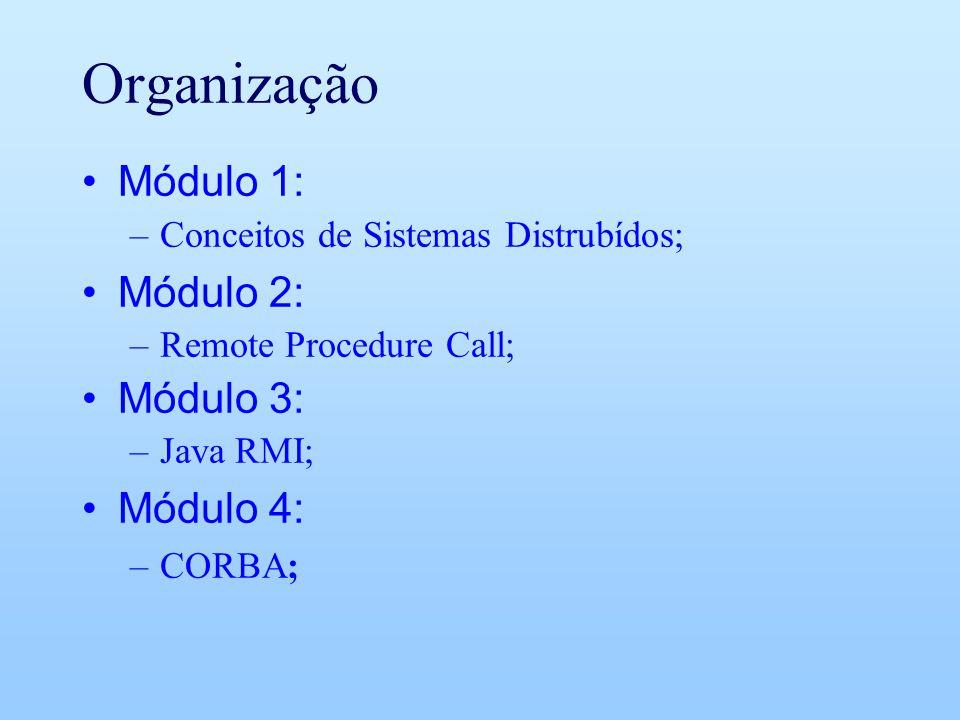 Organização Módulo 1: –Conceitos de Sistemas Distrubídos; Módulo 2: –Remote Procedure Call; Módulo 3: –Java RMI; Módulo 4: –CORBA;