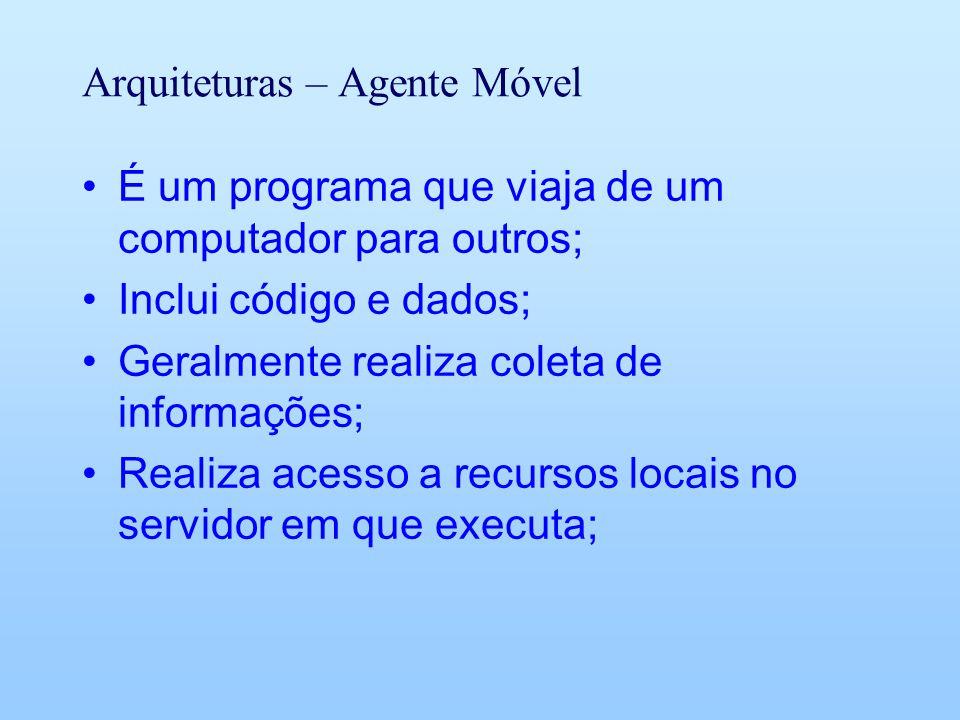 Arquiteturas – Agente Móvel É um programa que viaja de um computador para outros; Inclui código e dados; Geralmente realiza coleta de informações; Realiza acesso a recursos locais no servidor em que executa;