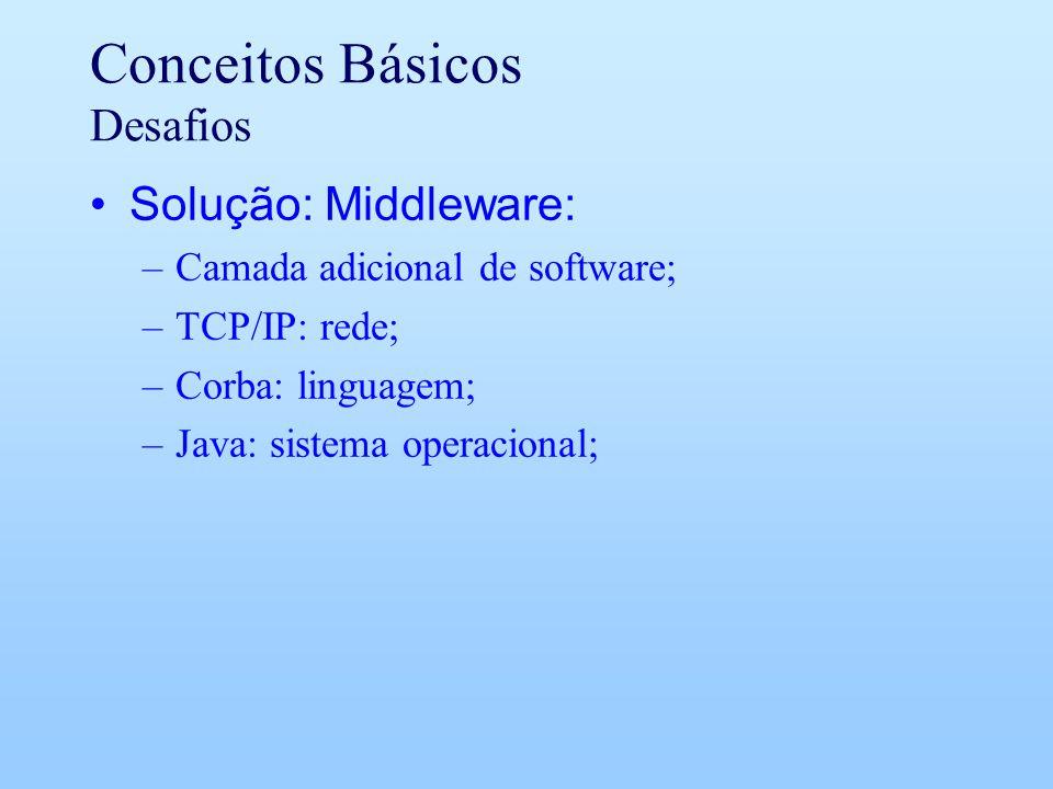 Conceitos Básicos Desafios Solução: Middleware: –Camada adicional de software; –TCP/IP: rede; –Corba: linguagem; –Java: sistema operacional;