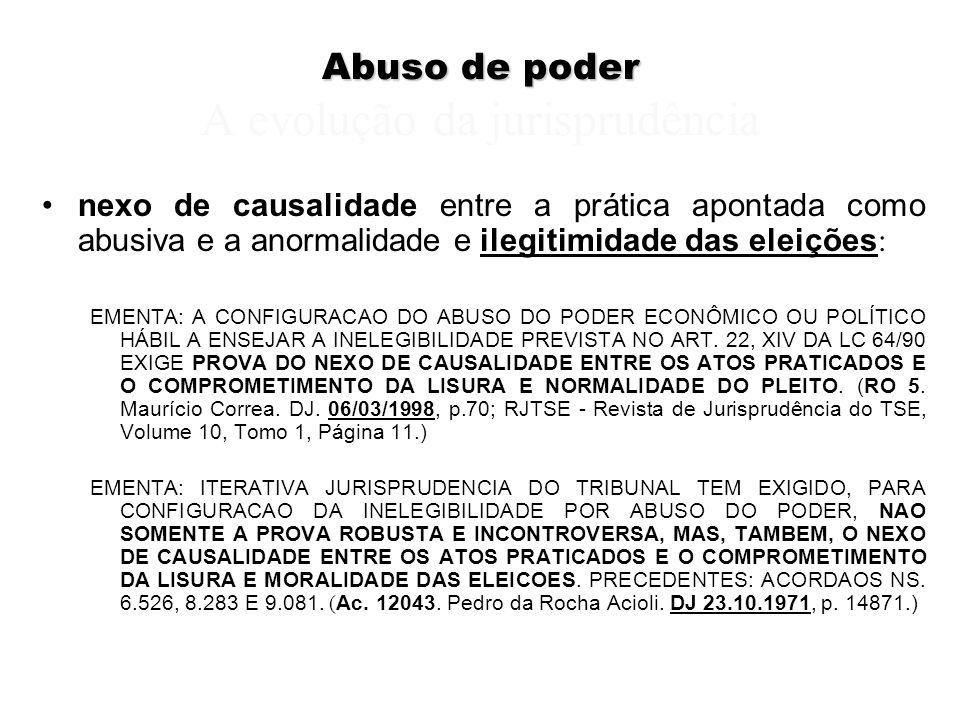 Abuso de poder Abuso de poder A evolução da jurisprudência nexo de causalidade entre a prática apontada como abusiva e a anormalidade e ilegitimidade