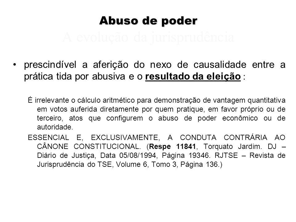 Abuso de poder Abuso de poder A evolução da jurisprudência prescindível a aferição do nexo de causalidade entre a prática tida por abusiva e o resulta