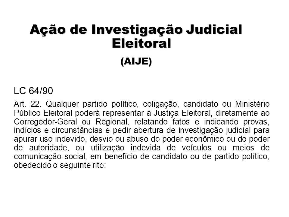 Ação de Investigação Judicial Eleitoral (AIJE) LC 64/90 Art. 22. Qualquer partido político, coligação, candidato ou Ministério Público Eleitoral poder