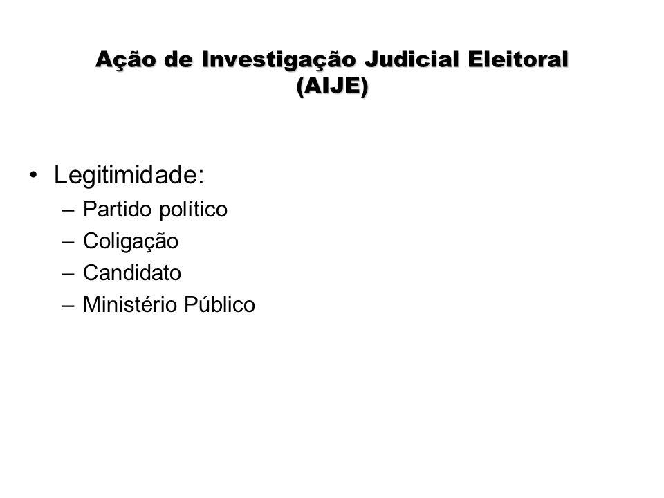 Ação de Investigação Judicial Eleitoral (AIJE) Legitimidade: –Partido político –Coligação –Candidato –Ministério Público