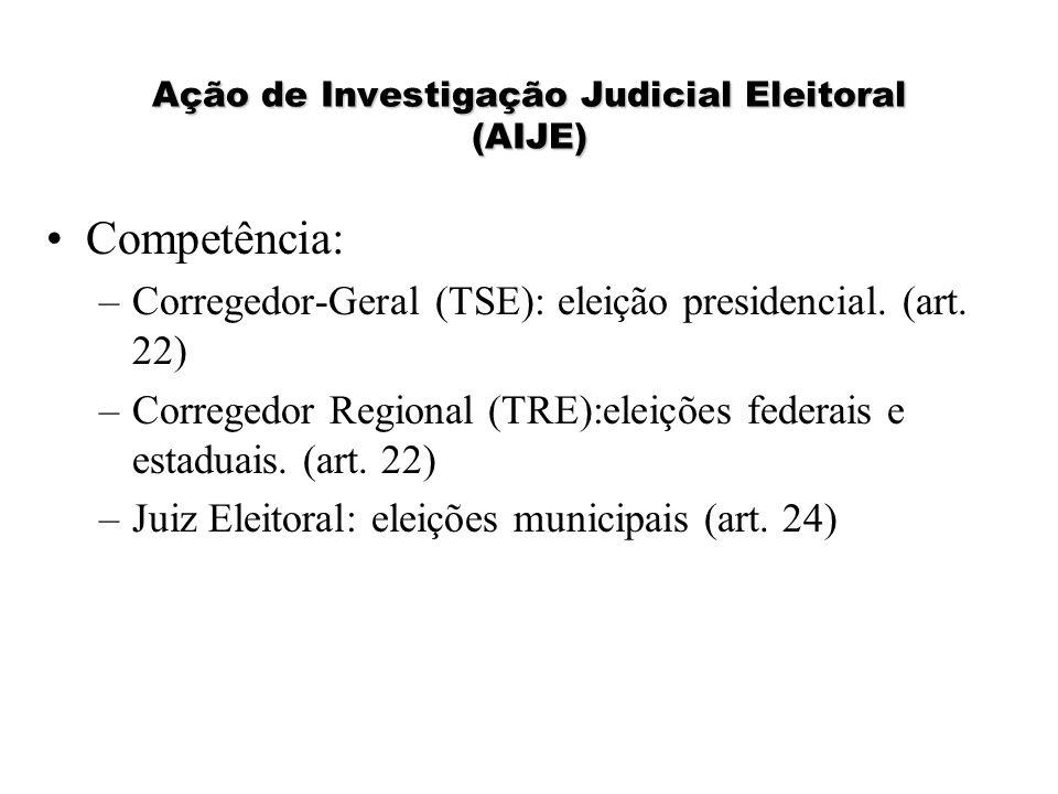 Ação de Investigação Judicial Eleitoral (AIJE) Competência: –Corregedor-Geral (TSE): eleição presidencial. (art. 22) –Corregedor Regional (TRE):eleiçõ